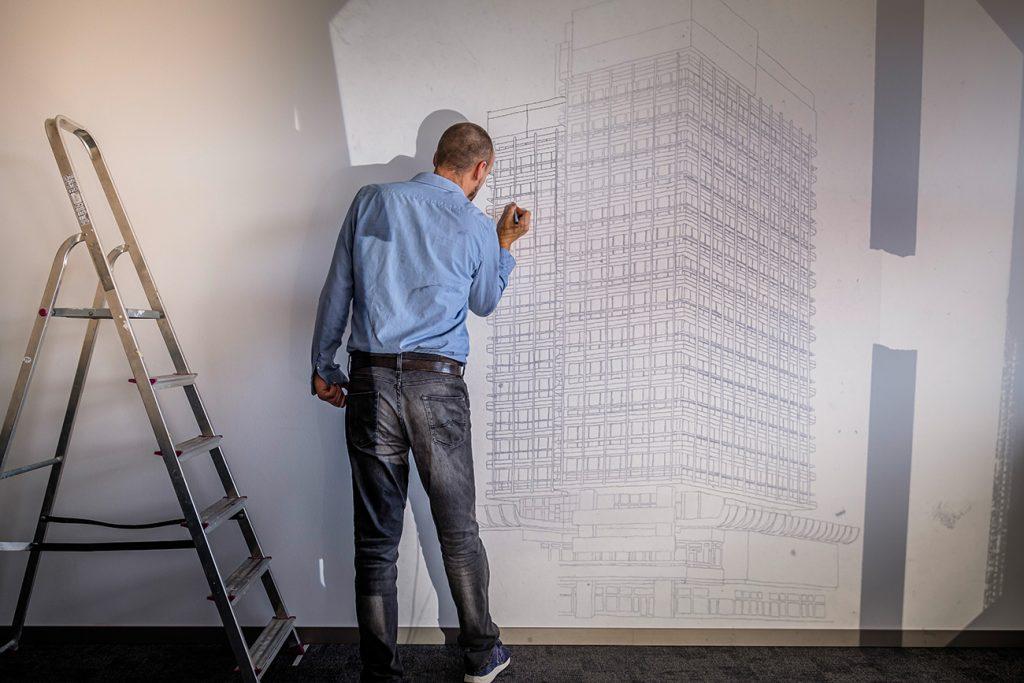 Künstlerische Wandgestaltung der Kanzlei EINSFÜNFACHT